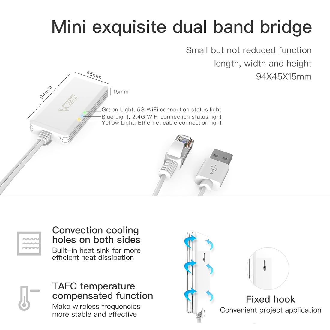 VONETS VAP11AC 5G / 2 4G Mini Wireless Bridge 300Mbps + 900Mbps WiFi  Repeater, Support Video Surveillance & Control (White)