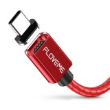 FLOVEME 1m 3A USB to USB-C / Type-C Magnetic Embossed PET Fast Charging & Data Cable, For Galaxy, Huawei, Xiaomi, LG, HTC and Other Smartphones (Red)