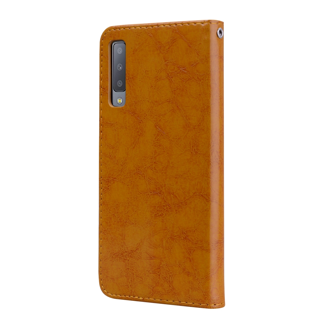 Business Style Oil Wax Texture Horizontal Flip Leather Case for Galaxy A7 (2018), with Holder & Card Slots & Wallet (Light Brown)