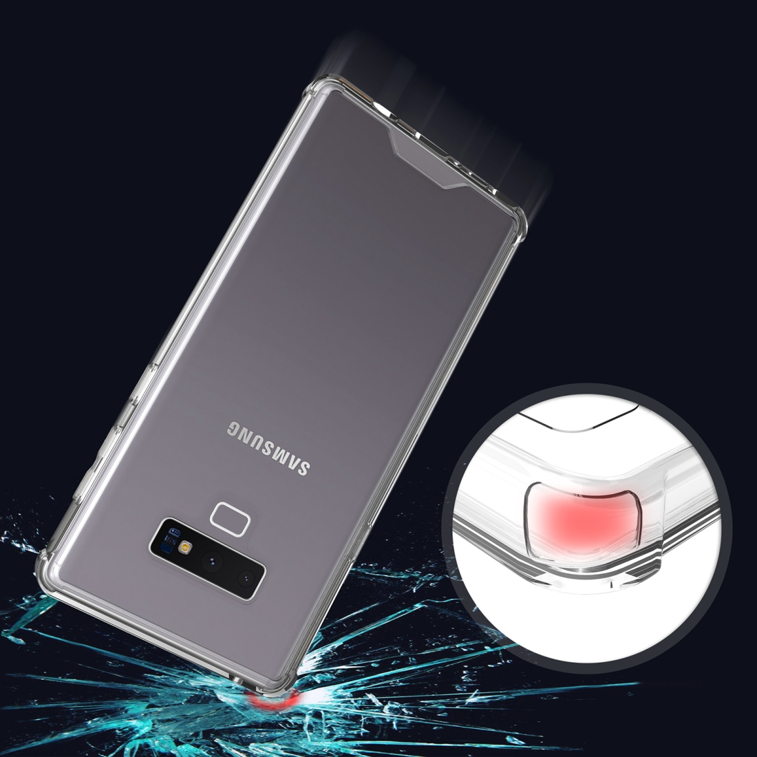 Acrylic + TPU Shockproof Transparent Armor Protective Case for Galaxy Note9 (Transparent)
