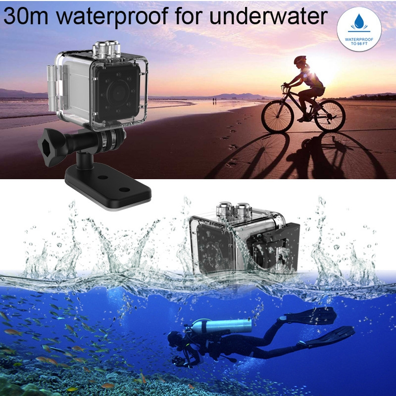 SQ13 Ultra-Mini DV Pocket WiFi 1080P 30fps Digital Video Recorder Camera Camcorder with 30m Waterproof Case, Support IR Night Vision (Black)