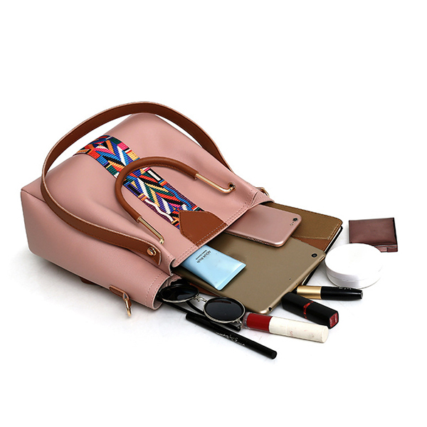 Women 4 Pcs Leisure Bucket Bag Handbag Crossbody Bag Shoulder Bag Clutch Bag Key Bag Women Purse