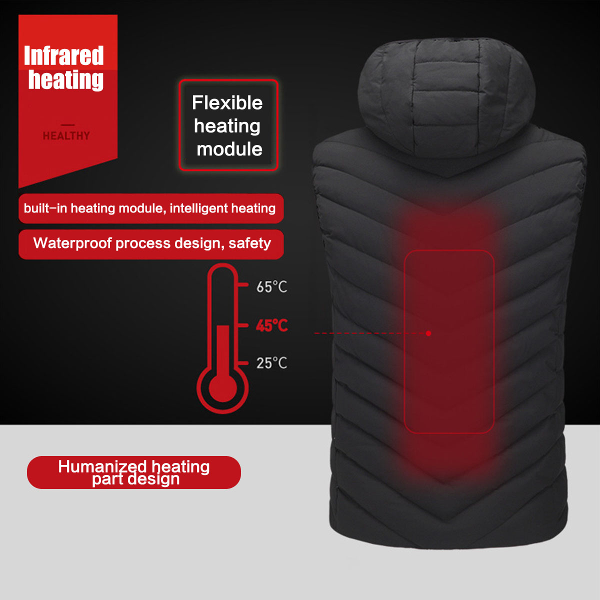 Electric Battery USB Heated Heating Heat Hoodie Jacket Coat Adjustable Temp Winter