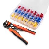 Multifunctional Stripper Plier Crimper M3-400pcs Cold Pressing Electrical Wire Terminal Sets Orange