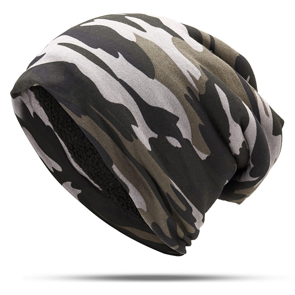 ddbeac941fdc5 Mens Camouflage Winter Plus Velvet Warm Slouchy Beanie Hat Casual Plus Size  Earmuffs Skull Cap
