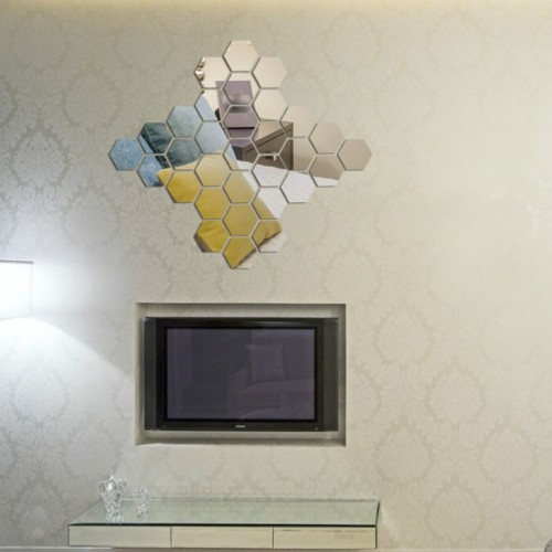 12PCS 3D Mirror Hexagon Vinyl DIY Removable Wall Sticker Art Decal Home Decor