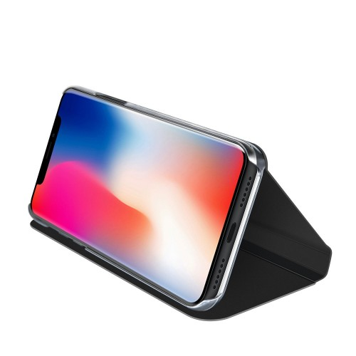 Bakeey Protective Case For iPhone XS Max Plating Mirror Window View Kickstand Magnetic Flip Cover