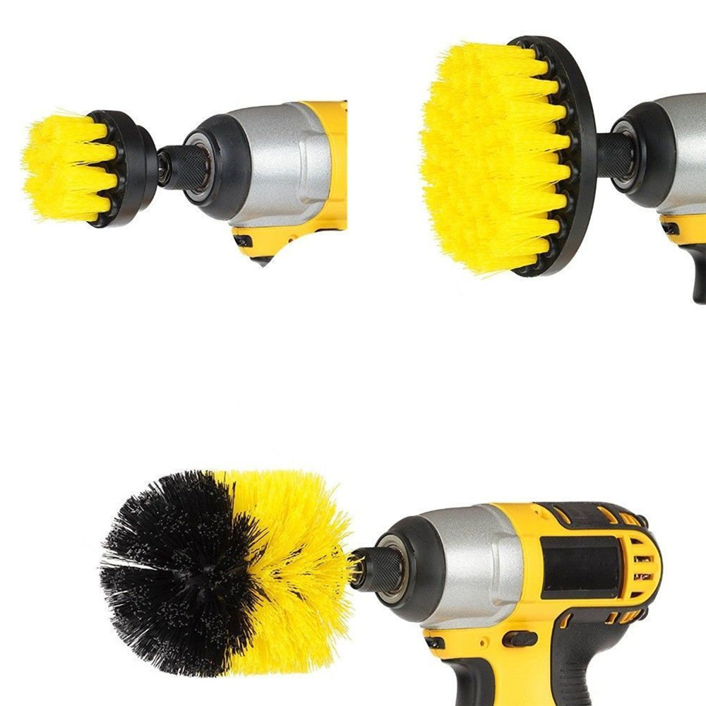 3Pcs Yellow/Red/Blue Drill Cleaning Brush Tub Cleaner Tile Grout Power Scrubber Combo Kit