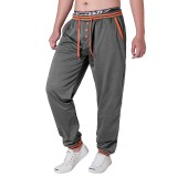 Men's Casual Color Block Stitching Sports Trousers Elastic Waist Drawstring Jogger Pants
