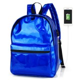 USB PU Backpack Waterproof 14 Inch Laptop School Bag Camping Travel Pack Shoulder Bag Handbag