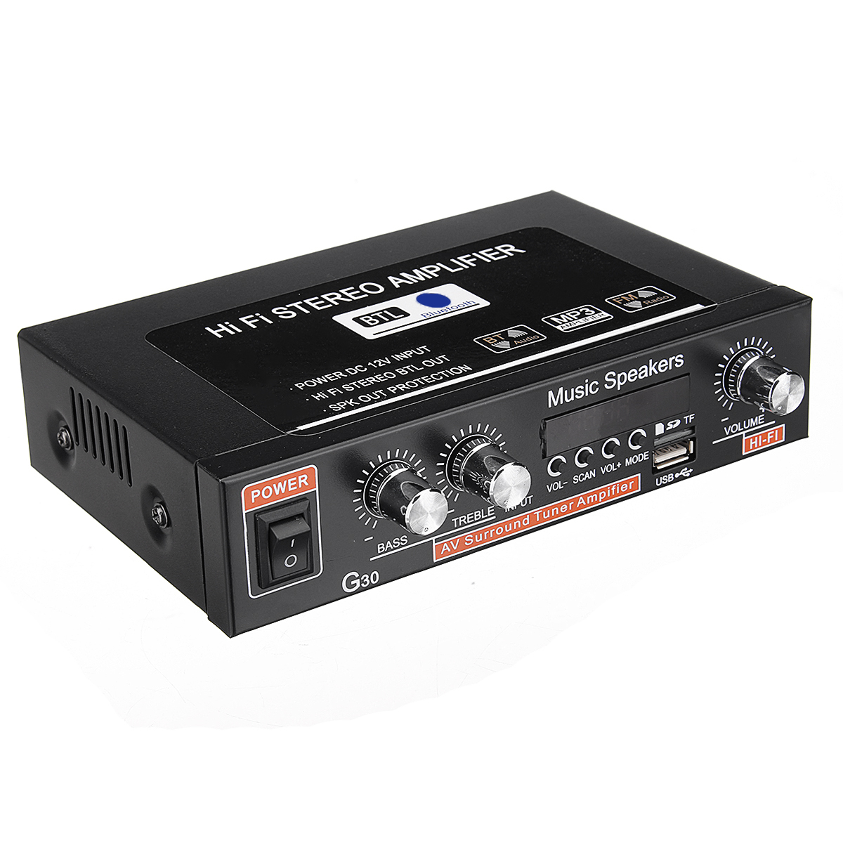 12V 220V Two-way Car Audio Bluetooth 2 Channel Digital Power Car Amplifier