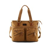 Vintage Canvas Handbag Multi-slot Crossbody Bag For 14 Inch Computer Solid Shoulder Bag