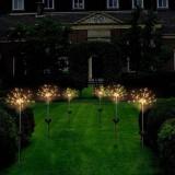 LUSTREON Solar Powered Warm White 90 LED Firework Starburst Landscape Lawn Light for Outdoor Garden