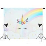5x3ft 7x5ft Rainbow Clouds Sky Unicorn Photography Backdrop Studio Prop Background
