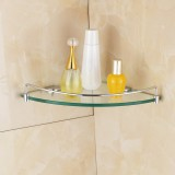 8mm Bathroom Corner Tempered Glass Shower Shelf Storage Soap Dish Rack Holder Wall-mounted Kitchen