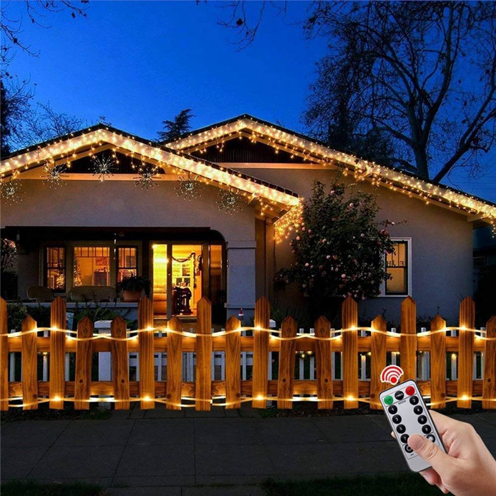Battery Powered 8 Modes 10M 100LED Rope Tube String Light Outdoor Christmas Garden+Remote Controller
