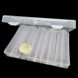 100PCS 27mm Coin Storage Box Round Cases Applied Clear Portable Round Holder Box