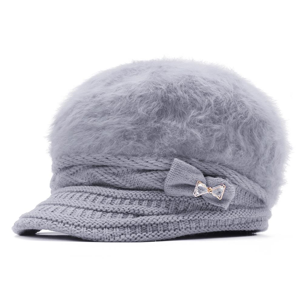 Womens Leisure Winter Knit Hat Plus Velvet Beret Hat Outdoor Thicken Warm Caps