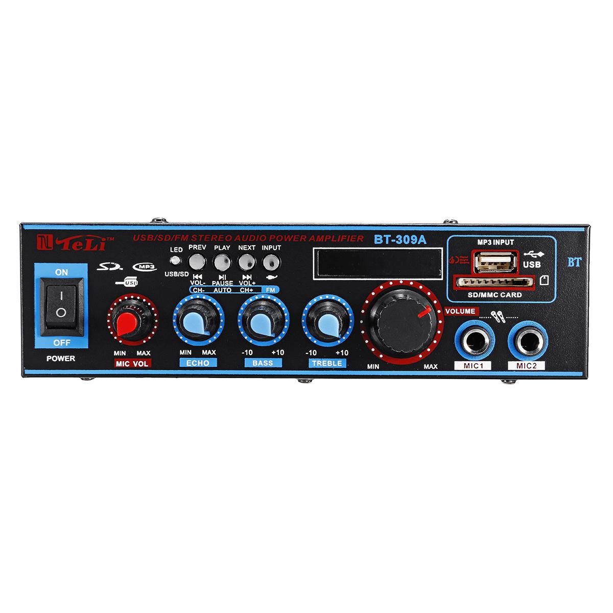 12V/220V HIFI Audio Stereo Power Amplifier Bluetooth FM Radio Car Home Karaoke