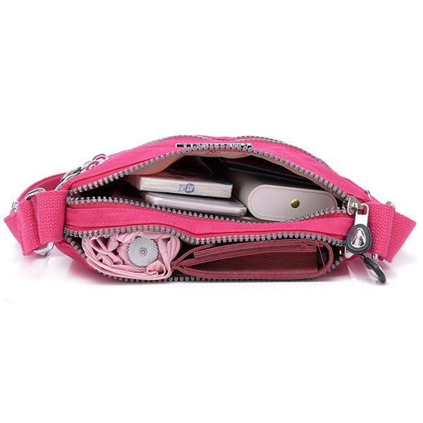 Women Nylon Multi-pocket Leisure Crossbody Bag Solid Shoulder Bag