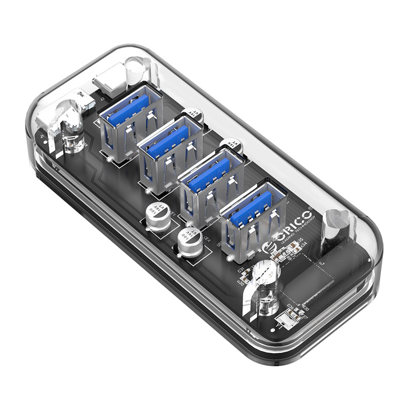 Orico F4U-U3 Transparent 4-Port USB 3.0 Hub with Dual-port Power Supply