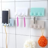 Bathroom Storage Rack Wall Mounted Shaver Holder Organizer 4 Hanger Hooks Towel Holder Key Shelf