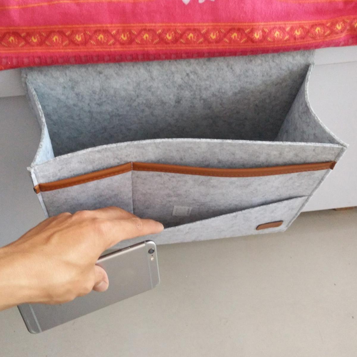 Bedside Pocket Storage Baskets Hanging Bag Felt Sofa Phone Book Organizer Remote