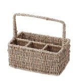 24x17x27cm 4 Compartment Straw Storage Baskets Camping Picnic Cutlery Condiment Woven Baskets