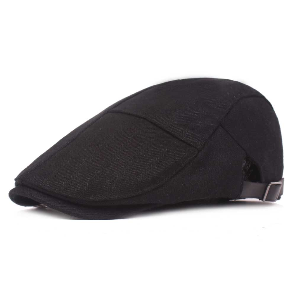 Mens Womens Casual Winter Warm Thicken Adjustable Beret Hat Outdoor Plain Newsboy Caps