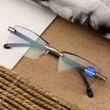 Women Round Rimless Reader Reading Glasses Rhinestone Anti-blue Light Computer Glasses
