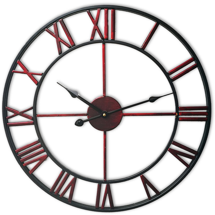 Loskii Creative Wall Clock Living Room Round Hollow Out