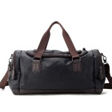 Men Faux Leather Leisure Gym Bag Large Capacity Handbag Travel Bag