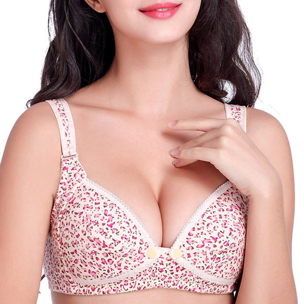 Front Button Cotton Nursing Bra Wireless Printed Comfy Pregnant Woman Bras