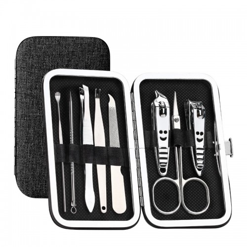 Y.F.M 8pcs Stainless Steel Nail Care Clipper Pedicure Scissor Eyebrow Tweezer Manicure Set Kit