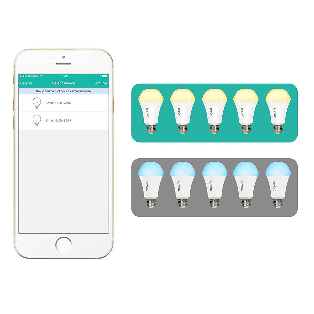 Lombex E27 10W Dimmable Warm White To Daylight WIFI APP Control Smart LED  Light Bulb AC110-255V