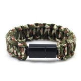 IPRee EDC Outdoor Survival Bracelet Camping Emergency Paracord Tool Kits USB Android Data Cable