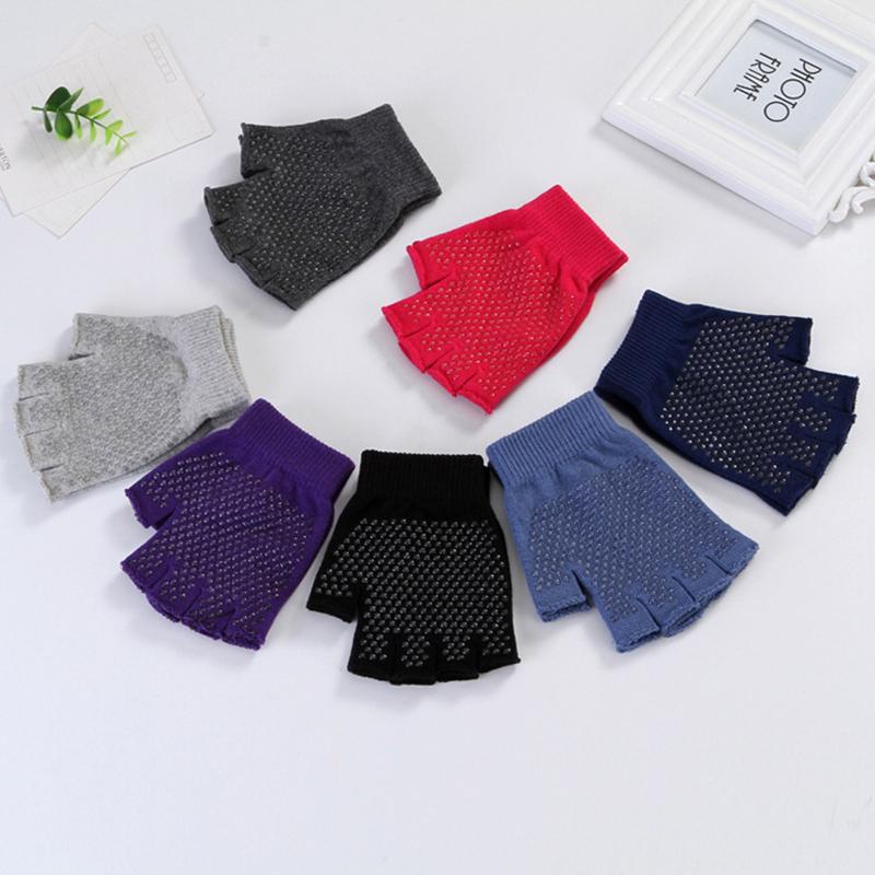 Women Non Slip Sporty Style Design Fingerless Yoga Gloves Cotton Open Figure Glove