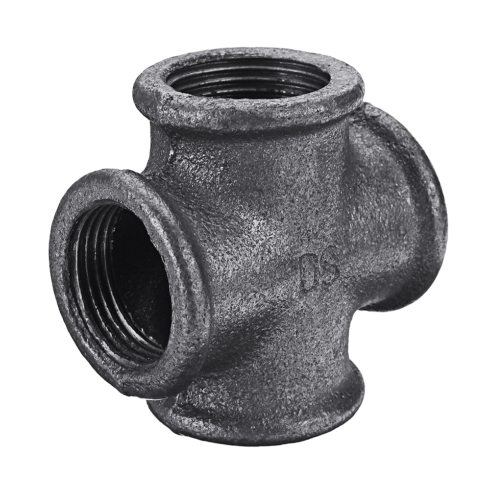 1/2″ 3/4″ 1″ Cross 4 Way Pipe Fitting Malleable Iron Black Female Tube  Connector