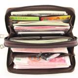 Men Faux Leather Business Double Zipper Long Wallet Clutch Bag