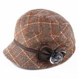 Women Windproof Thicken Woolen Blending Beret Caps Fashion Plaid Earmuffs Peaked Cap