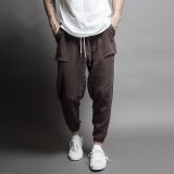 Men's Baggy Vintage Cotton Solid Color Fit Drawstring Casual Harem Jogger Pants