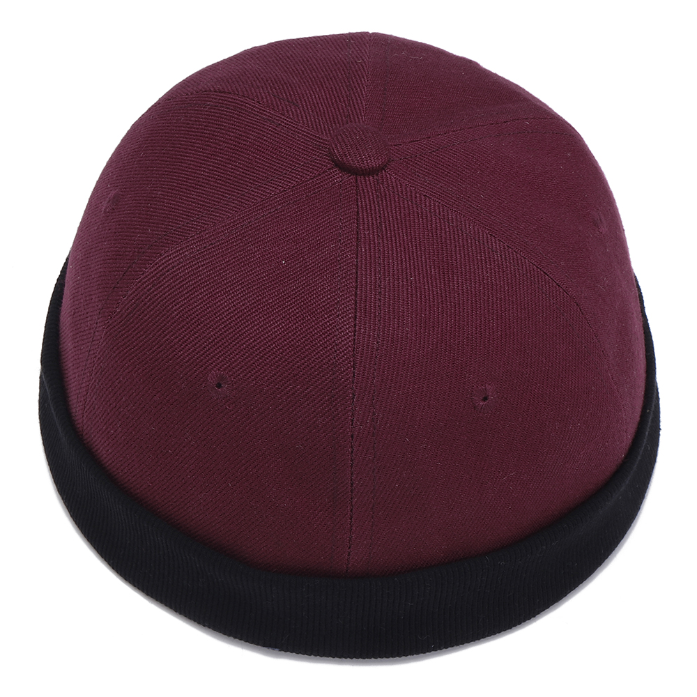 Mens Womens Cotton Adjustable French Brimless Hats Outdoor Plain ... 07f89e602338