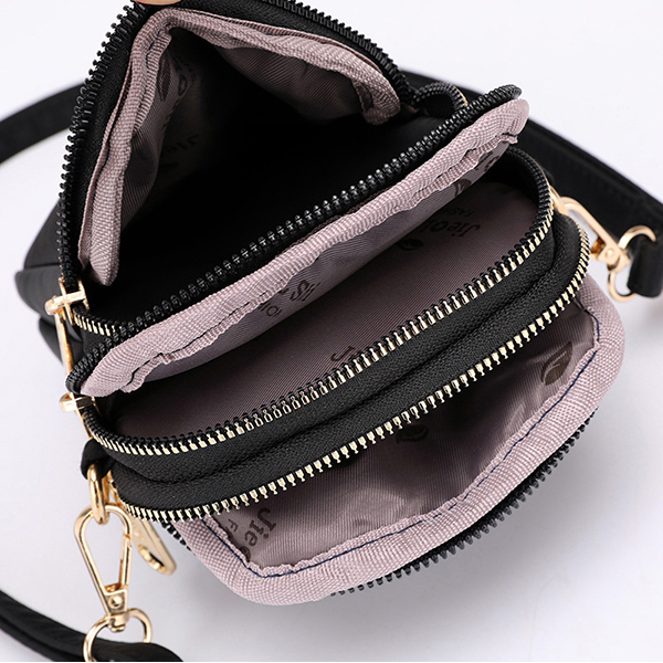 Women Waterproof Phone Bag Nylon Solid Fashion Bum Bag Waist Bag Purse Crossbody Bag