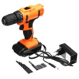 18V Electric Screwdriver Cordless Hammer Impact Power Drill Driver Rechargeable with 13Pcs Drill Bit