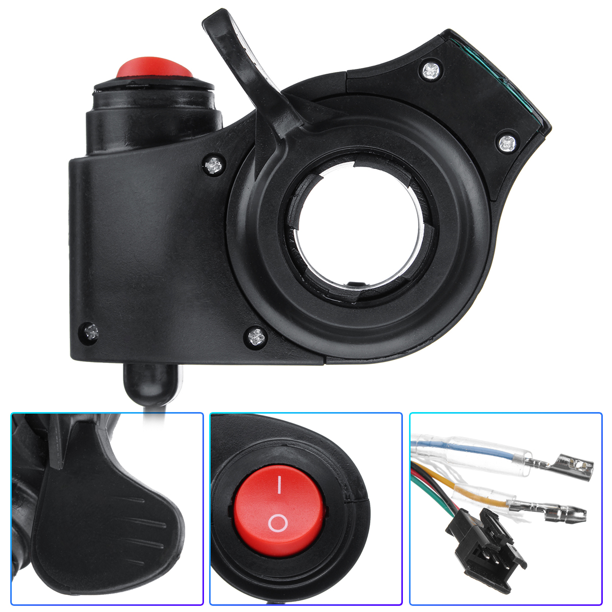 Black Thumb Throttle With Power Switch LED Display 12V-72V For Electric Bike