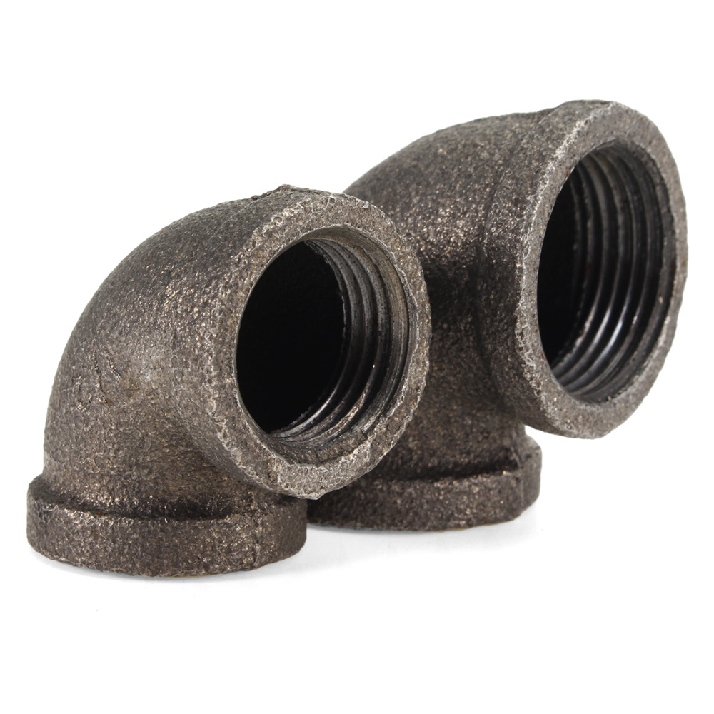 1/2 Inch 4/3 Inch Black 90 Degree Malleable Iron Pipe