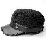 Middle-Aged Leather And Cotton Military Army Cap Outdoor Earmuffs Ski Flat Top Hats