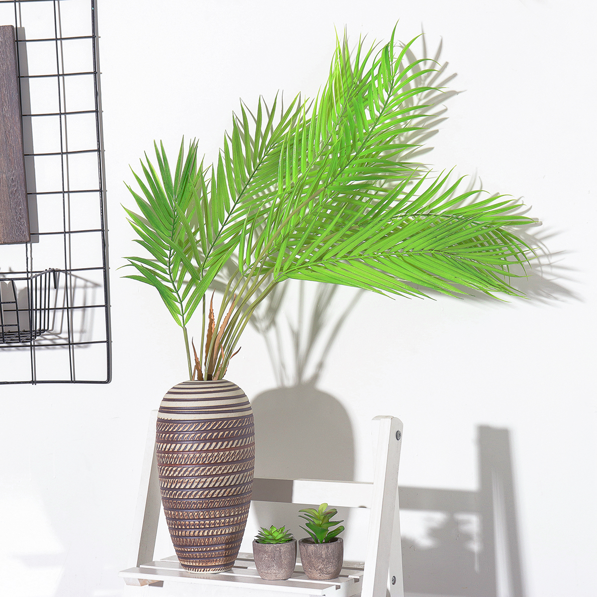 6 9 Branches Green Palm Leaves Plastic Fake Plant Artificial Leaf Home Adornment Decorations