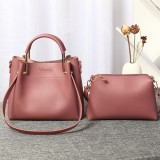 Women Faux Leather Two-piece Set Bucket Bag Handbag Shoulder Bag