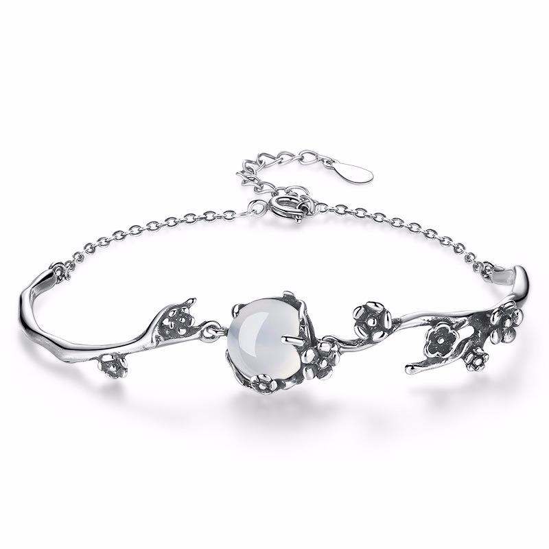 S925 Silver Elegant Chain Bracelets White Gold Plum Blossom Plant Bracelet Fashion Jewelry For Women